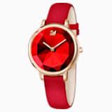 Crystal Lake Uhr, Lederarmband, rot, Rosé vergoldetes PVD-Finish - Swarovski, 5415999