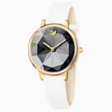 Crystal Lake Watch, Leather strap, White, Gold-tone PVD - Swarovski, 5416003