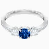 Attract Trilogy Round Ring, Blue, Rhodium plated - Swarovski, 5416152