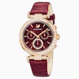 Montre Era Journey, Bracelet en cuir, rouge foncé, PVD doré rose - Swarovski, 5416701