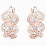 Angelic Hoop Pierced Earrings, White, Rose-gold tone plated - Swarovski, 5418271