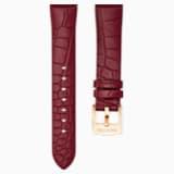 Correa de reloj 18mm, rojo oscuro, baño tono oro rosa - Swarovski, 5419202