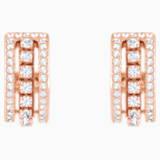 Further Pierced Earrings, White, Rose-gold tone plated - Swarovski, 5419852