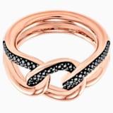 Lane 圖形戒指, 黑色, 鍍玫瑰金色調 - Swarovski, 5424193