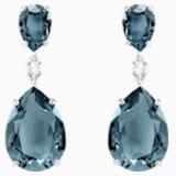 Vintage 水滴形穿色耳環, 藍綠色, 鍍白金色 - Swarovski, 5424362
