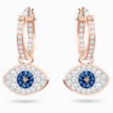 Swarovski Symbolic Evil Eye Hoop Pierced Earrings, Blue, Rose-gold tone plated - Swarovski, 5425857
