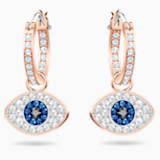 Swarovski Symbolic Evil Eye Hoop Pierced Earrings, Multi-coloured, Rose-gold tone plated - Swarovski, 5425857
