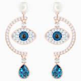 Luckily Evil Eye Pierced Earrings, Blue, Rose-gold tone plated - Swarovski, 5425860