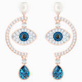Luckily Evil Eye Pierced Earrings, Blue, Rose-gold tone plated - Swarovski, 5425860