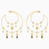 Magnetic Hoop Pierced Earrings, Multi-colored, Gold-tone plated - Swarovski, 5426604
