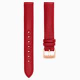 Pasek do zegarka 14 mm, skóra, czerwony, w odcieniu różowego złota - Swarovski, 5426832