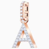 Swarovski Remix Collection Charm A, White, Rose-gold tone plated - Swarovski, 5434405