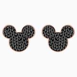 Mickey & Minnie Pierced Earrings, Black, Rose-gold tone plated - Swarovski, 5435137