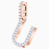 Swarovski Remix Collection Charm U, White, Rose-gold tone plated - Swarovski, 5437608