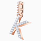 Swarovski Remix Collection Charm K, blanco, Baño en tono Oro Rosa - Swarovski, 5437619