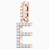 Swarovski Remix Collection Charm E, 白色, 镀玫瑰金色调 - Swarovski, 5437621