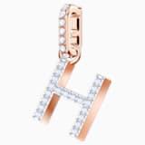 Swarovski Remix Collection Charm H, White, Rose-gold tone plated - Swarovski, 5437622