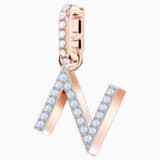 Swarovski Remix Collection Charm N, blanco, Baño en tono Oro Rosa - Swarovski, 5437623