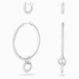 Stone Pierced Earring Set, White, Rhodium plated - Swarovski, 5437971