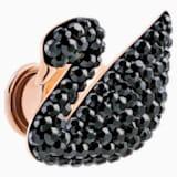 Iconic Swan 小胸針, 黑色, 鍍玫瑰金色調 - Swarovski, 5439869