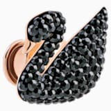 Iconic Swan Tack Pin, Black, Rose-gold tone plated - Swarovski, 5439869