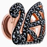 Facet Swan 小胸針, 黑色, 鍍玫瑰金色調 - Swarovski, 5439870