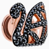 Facet Swan Tack Pin, Black, Rose-gold tone plated - Swarovski, 5439870
