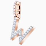 Swarovski Remix Collection Charm W, Белый Кристалл, Покрытие оттенка розового золота - Swarovski, 5440422