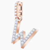 Swarovski Remix Collection Charm W, blanco, Baño en tono Oro Rosa - Swarovski, 5440422