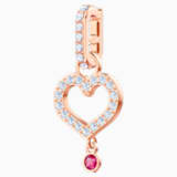 Swarovski Remix Collection Heart Charm, White, Rose-gold tone plated - Swarovski, 5441398