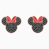 Mickey & Minnie Pierced Earrings, Black, Rose-gold tone plated - Swarovski, 5446390