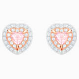 One Stud Pierced Earrings, Multi-colored, Rose-gold tone plated - Swarovski, 5446995