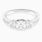 Attract Trilogy Round Ring, White, Rhodium plated - Swarovski, 5448843