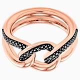 Lane Motif Ring, Black, Rose-gold tone plated - Swarovski, 5448869