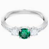 Anillo Attract Trilogy Round, verde, Baño de Rodio - Swarovski, 5448876