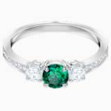 Attract Trilogy Round Ring, Green, Rhodium plated - Swarovski, 5448891