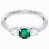 Anillo Attract Trilogy Round, verde, Baño de Rodio - Swarovski, 5448891