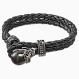 Fan-armband, Leer, Zwart, Bronzen toplaag - Swarovski, 5448906