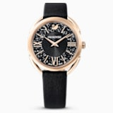 Crystalline Glam Watch, Leather Strap, Black, Rose-gold tone PVD - Swarovski, 5452452