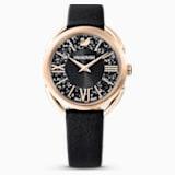 Hodinky Crystaline Glam s koženým páskem, černé, PVD v odstínu růžového zlata - Swarovski, 5452452