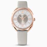 Ρολόι Crystalline Glam, δερμάτινο λουράκι, γκρι, PVD σε χρυσή ροζ απόχρωση - Swarovski, 5452455
