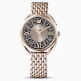 Crystalline Glam Часы, Металлический браслет, Серый Кристалл, PVD-покрытие золотого цвета оттенка шампанского - Swarovski, 5452462