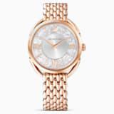 Ρολόι Crystalline Glam, μεταλλικό μπρασελέ, λευκό, PVD σε χρυσή ροζ απόχρωση - Swarovski, 5452465