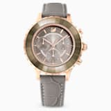 Octea Lux Chrono Saat, Deri kayış, Gri, Pembe altın rengi PVD - Swarovski, 5452495
