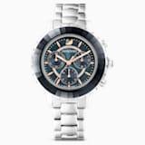 Octea Lux Chrono Watch, Metal bracelet, Dark gray, Stainless steel - Swarovski, 5452504