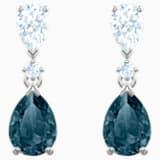 Vintage 穿孔耳環, 藍色, 鍍白金色 - Swarovski, 5452579