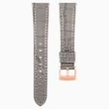17mm Watch strap, Leather with stitching, Taupe, Rose-gold tone plated - Swarovski, 5455156
