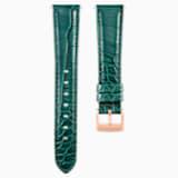 Cinturino per orologio 17mm, pelle con impunture, verde, placcato color oro rosa - Swarovski, 5455160
