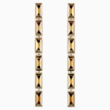 Fluid Drop Pierced Earrings, Brown, Gold-tone plated - Swarovski, 5455632