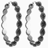 Moselle Hoop Pierced Earrings, Gray, Ruthenium plated - Swarovski, 5455694